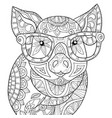 adult coloring bookpage a cute pig wearing vector image vector image