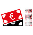 banknotes icon with 90 bonus pictograms vector image