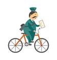 cartoon postman mailman character bicycle vector image