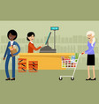 cash desk in a supermarket and people with vector image vector image