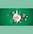 christmas card 3d paper holiday decoration vector image vector image