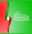 coliseum and the italian flag background vector image
