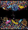 colorful round confetti and fancy mask spike vector image