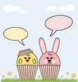 Cupcake easter bunny and chicken