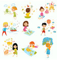 cute little boys and girls drawing with color vector image vector image