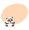 cute smiling baby panda character sitting showing vector image vector image