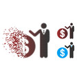 decomposed pixel halftone banker icon vector image vector image