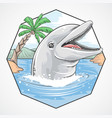 dolphin summer beach coconut tree element vector image
