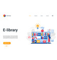 e-library landing page booklovers using digital vector image vector image