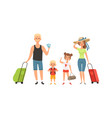 family tourists man woman children with baggage vector image vector image