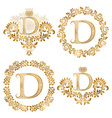 Golden letter D vintage monograms set Heraldic vector image vector image
