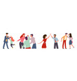 high five happy people informal greeting group vector image