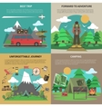 Hiking banner 4 flat icons square vector image vector image
