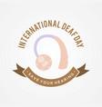 international deaf day emblem concept background vector image