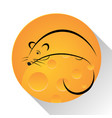 mouse cheese icon vector image
