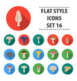 mushroom set icons in flat style big collection vector image vector image