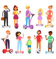 people on hoverboard character on segway vector image vector image