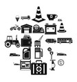 petrol station icons set simple style vector image vector image