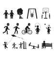Playground and children black simple icon set vector image