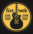 poster for a live rock music festival with guitar vector image vector image