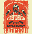 poster for firefighter department design template vector image vector image