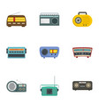 radio station icons set cartoon style vector image
