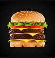 realistic double hamburger with cheese vector image