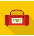 Red sports bag icon flat style vector image vector image