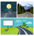road to city highway and different types of urban vector image