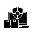 safe delivery black icon concept vector image vector image