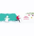 santa claus with a gift bag and a bear skiing vector image vector image