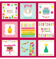 Set of Happy Birthday and Party Invitation Card vector image vector image