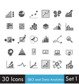 Set of SEO and Analytics icon isolated on white vector image vector image