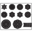 Set with filled black geometric shapes and vector image
