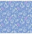 Soft blue seamless pattern with flowers and birds vector image vector image