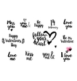 Valentines day typography set vector image