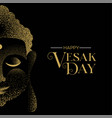 vesak day greeting card gold buddha face vector image vector image
