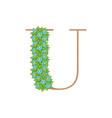 wooden leaves letter u vector image