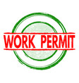work permit stamp vector image