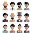 Male Icons Set in Flat Style vector image