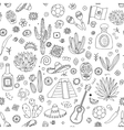 Doodles seamless pattern of Mexico vector image