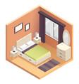 isometric bedroom interior design vector image