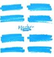 Blue marker stains set vector image