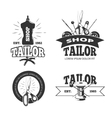 Tailor shop labels badges logos emblems vector image