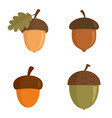 acorn icons set flat style vector image vector image