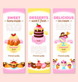 banners of dessert cakes and pastry sweets vector image vector image