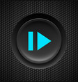black button with blue sign of fast forward on vector image vector image