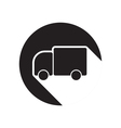 black icon with lorry and shadow vector image vector image