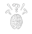 Brain with question mark and exclamation mark vector image