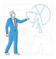 businessman showing a diagram - line design style vector image